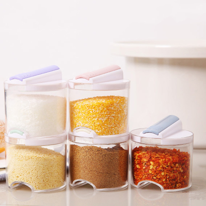 5PCS Kitchen Salt Box Spices Storage Holder Seasoning Container Jars Case