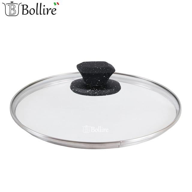 Cтеклянная крышка BOLLIRE 28 см из термостойкого стекла, с ободком из нержавеющей стали против сколов и трещин, с отверстием в крышке для выпуска пара