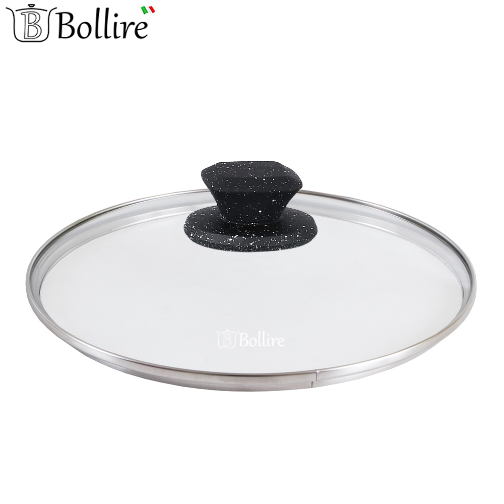 Cookware Parts BOLLIRE BR-1024 cover for frying pan covers glass portable silicone pp oil cleaning scraper for frying pan yellow white
