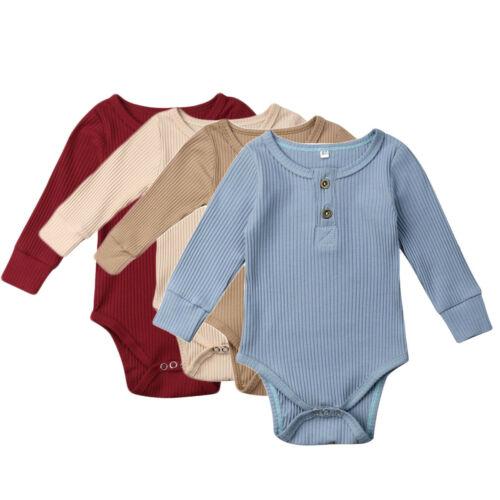 0-24M Newborn Infant Baby Girls Boys Bodysuit Long Sleeve Jumpsuit Outfits Sunsuit Clothes
