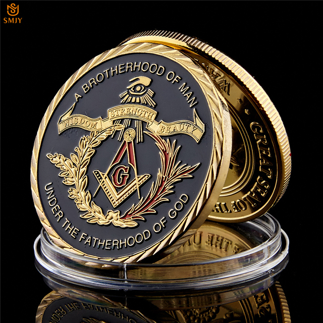 Euro Masonic Association Under A Brotherhood Of Man The Fatherhood Of God Gold Plated Token Challenge Commemorative Coin 2