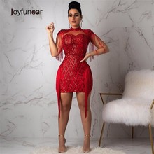 Joyfuner 2019 Plaid Sequin Tassel Dresses Women Sleeveless Turtleneck  Summer Dresses Bodycon Sexy Clubwear Party Dress 648a437f3afc
