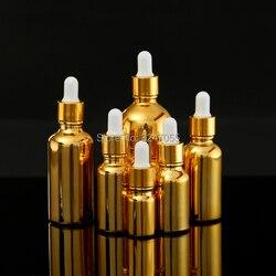 5ML10ML15ML20ML30ML50ML100MLHigh-end Oro Pipetta di Vetro Contagocce Contenitore di Profumo, Vuoto Cosmetico Olio Essenziale di Bottiglia Riutilizzabile