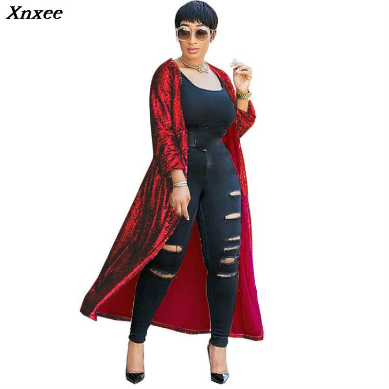 Xnxee gold sequin glitter Autumn winter coat women Long Sleeve Fashion 2018 Will Code Cardigan Loose coat women casaco feminino in Trench from Women 39 s Clothing