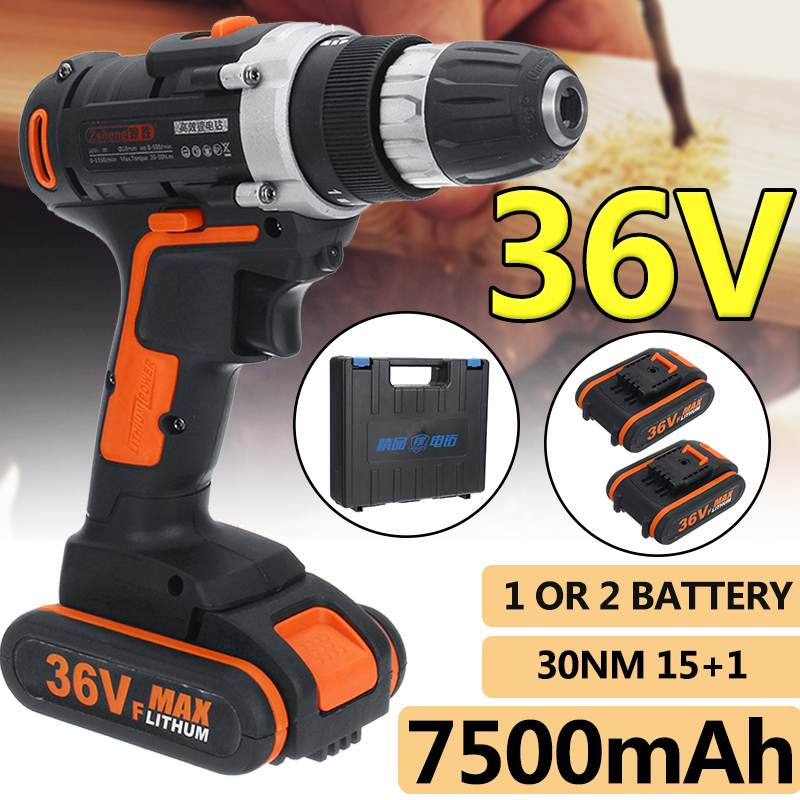 New 36V 7500mAh Household Electric Drill Wrench Driver Double Speed Cordless Drill Rechargeable Lithium Battery ScrewdriverNew 36V 7500mAh Household Electric Drill Wrench Driver Double Speed Cordless Drill Rechargeable Lithium Battery Screwdriver