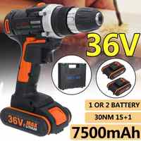 New 36V 7500mAh Household Electric Drill Wrench Driver Double Speed Cordless Drill Rechargeable Lithium Battery Screwdriver