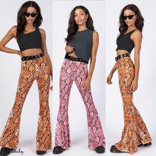 Womens Wide Leg Long Flares High Waist Trousers Snake Party Pants Bell Bottom UK