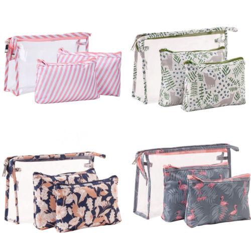 3 Pcs New Arrive Flamingo Cosmetic Bag Women Necessaire Make Up Bag Travel Waterproof Portable Makeup Bag Toiletry Kits PVC