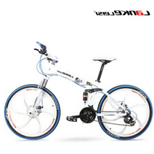 цена на T250101/Bicycle 26-inch magnesium alloy one round two-disc brakes 24-speed folding mountain bike/Mechanical disc brake