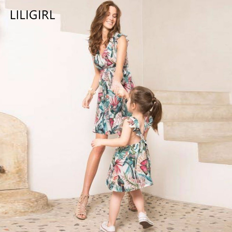 21d3dcbfd705d Hot Sale Fashion Summer Dresses for Mother Daughter Floral Family ...