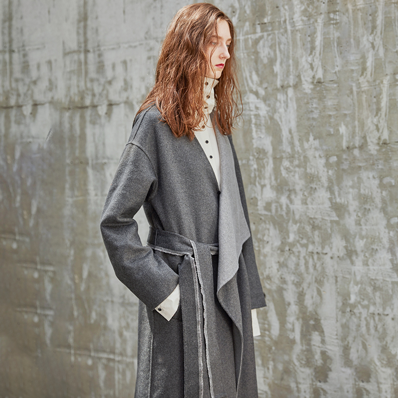 Côté Deux Gray Lâche 2019 Vêtements Élégant Long Printemps Manches Femme Manteau Longues eam À Large Taille Ld942 Réglable Méthode wXpIUU