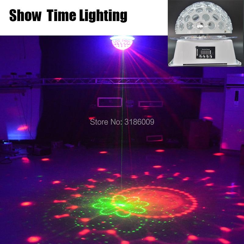 Spectacle temps LED cristal magique UFO lumière RG Laser rotation lumière professionnelle pour le divertissement à domicile KTV DJ fête Disco chanter danse|Éclairage de scène à effet| |  -