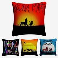 Rei Leão Hakuna Matata Decorativa Cotton Linen Capa de Almofada 45x45 cm Para Cadeira Do Sofá Almofada Fronha Home Decor