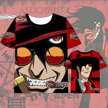 Hot New Japanese HELLSING T-shirt Men Women Short Sleeve dress Cosplay Costumes Tops UnisexHellsing Alucard Vampire t shirt hellsing alucard cosplay red mens hellsing cosplay costume