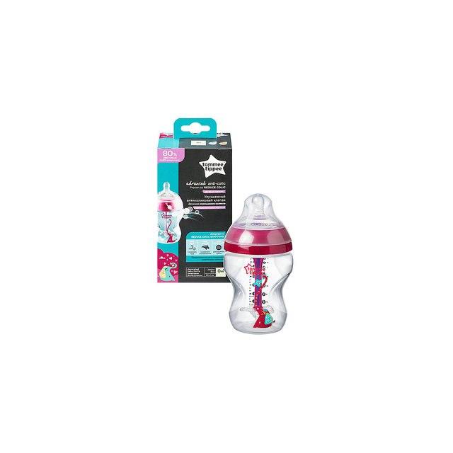 Бутылочка для кормления Tommee Tippee Advanced с усиленным антиколиковым клапаном и индикатором температуры, 260 мл., р