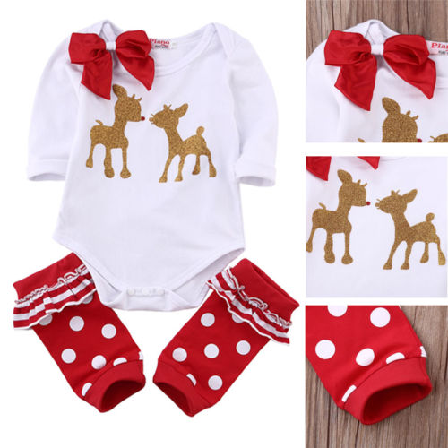 Christmas Bodysuit +Leg Warmers Outfits Xmas Double Deer Bodysuits Set For Girls Baby 3-12 Months