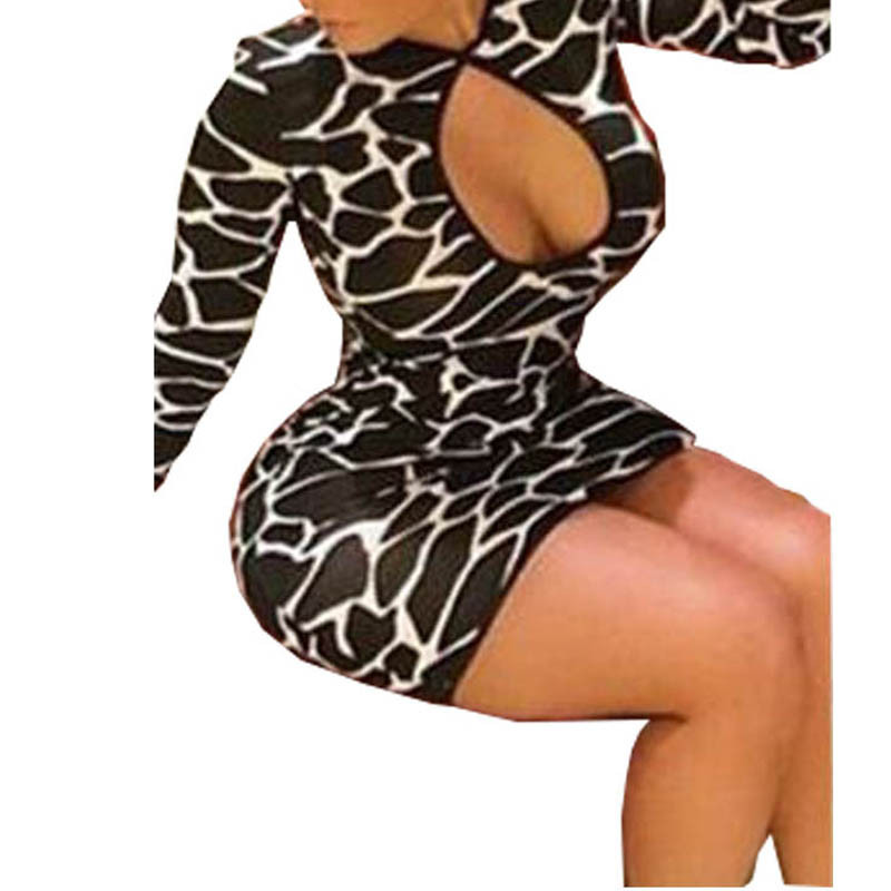 Women Leopard Dress Long Sleeve Beach Short Package Hip Dress Sexy O-Neck Lady Midi Hollow Out Party Dresses Vestidos Plus Size