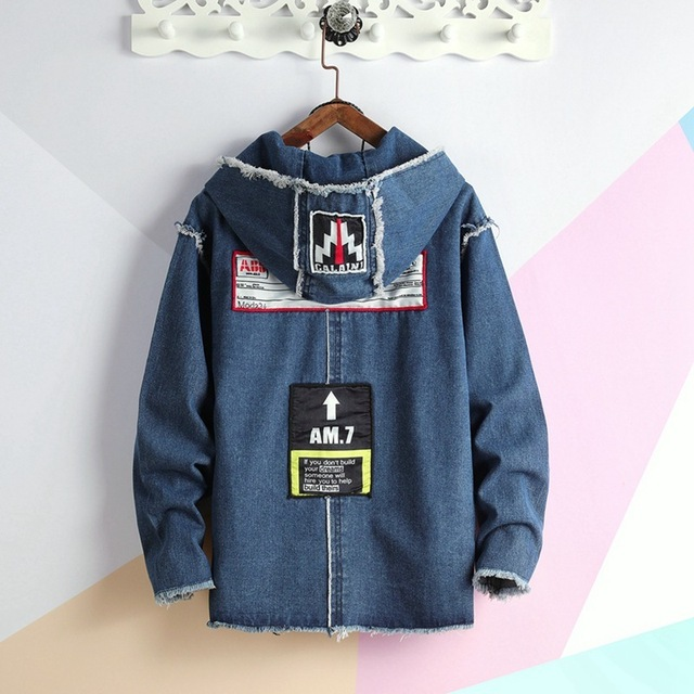 #7436 2019Spring Blue Black Hooded Denim Jacket Men Plus Size Loose Hip Hop Windbreaker Zipper Streetwear Jeans Coat Big Pockets