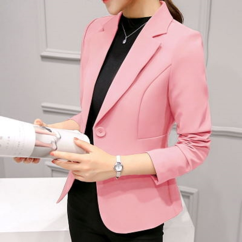 2019 New Spring Autumn Notched Office Ladies Quality Slim Long Sleeve Solid Color Womens Single Button Small Suit