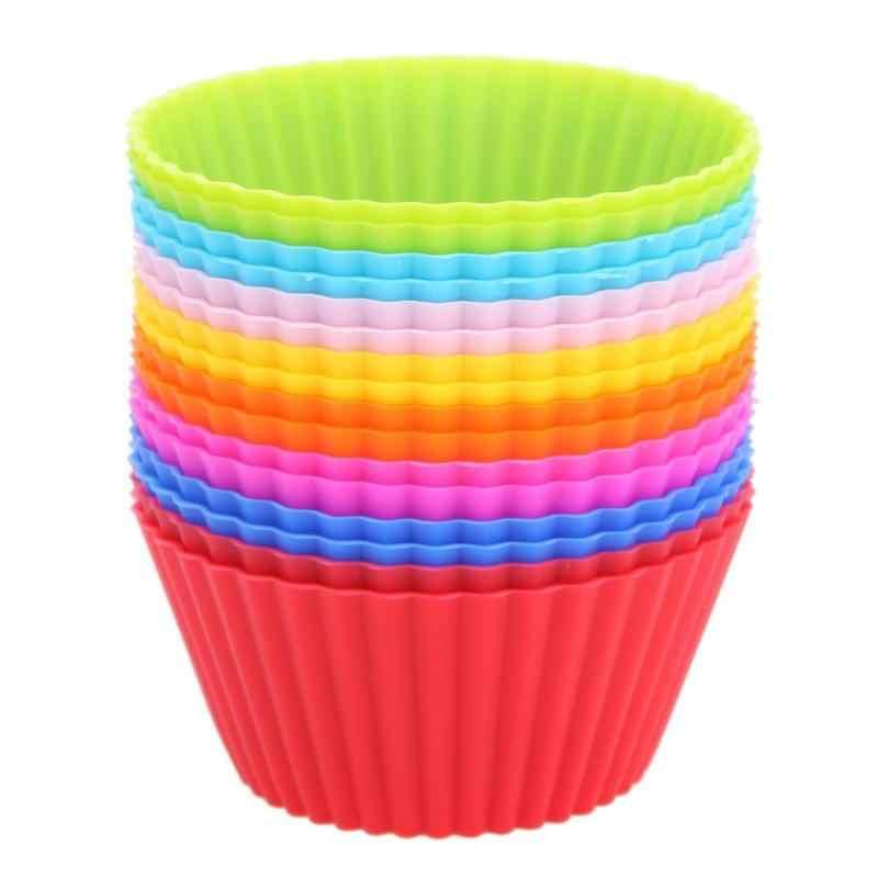 16 pièces/lot moule à Cupcake Muffin coloré forme ronde Silicone moule à Cupcake fabricant de ustensiles de cuisson plateau de cuisson tasse doublure moules