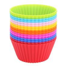 Lote de 16 unidades de moldes de silicona para cupcakes, moldes de silicona de formas redondas coloridas para hornear, bandeja para hornear, moldes de forro