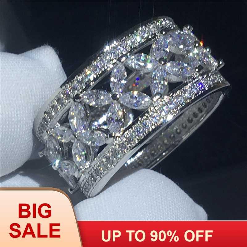 ดอกไม้หรูหราแหวนเงินสี AAAAA หิน Cz ขนาดใหญ่หมั้นงานแต่งงานแหวนผู้หญิงเครื่องประดับเจ้าสาว