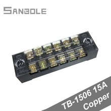 Terminal Block TBC-1506/TB-1506 Fixed Type with cover screws 15A 600V 6 Position 0.5-1.5mm2 Connection Copper (10PCS)