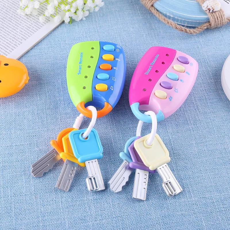 Remote  Musical Car Key Toy Colorful Flash Sounds Car Voices Vocal Pretend Play Educational Toys With Ringing Effect Random