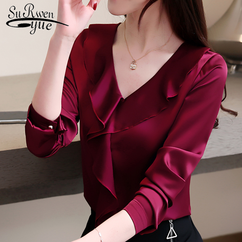 fashion womens tops and   blouses   V collar office   blouse   women chiffon   blouse     shirt   female long sleeve women   shirts   blusas 2355 50