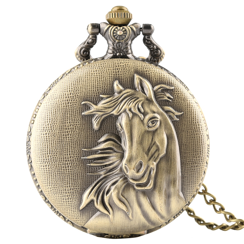 Retro Bronze 3D Horse Face Floral Rattan Pocket Watch FOB Full Hunter Necklace Pendant Souvenir Birthday Gifts For Men Women Kid