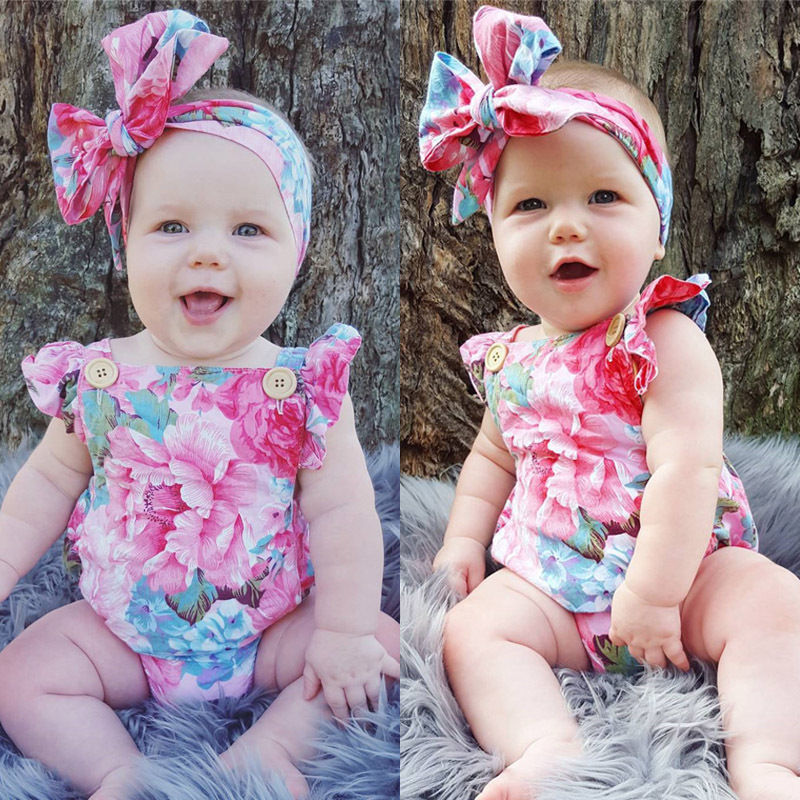 Pudcoco Girl Jumpsuits 0-24M Newborn Baby Girls Floral   Romper   Jumpsuit Headband Outfits Set USA