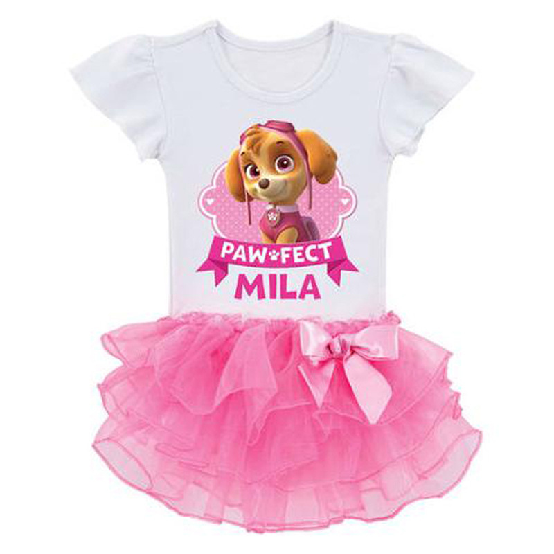 2019 New Kids Carnival Clothing Children Patrol Dogs Marshall Chase Skye Cosplay Costume Girls Summer Ballerina Skirt