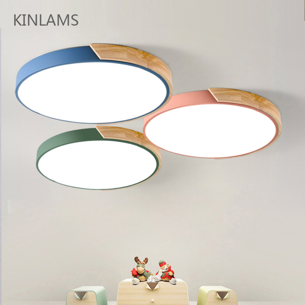 Nordic Wood led Ceiling Lights Modern Colorful Ceiling Lamps Round Ultra-thin plafond lamp Bedroom Ceiling Light Fixture