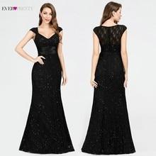 תחרה נצנצים ערב שמלות שחור אי פעם די EP07919BK V צוואר בת ים שרוולים סקסי חרוזים Sparkle אלגנטי מפלגת שמלות