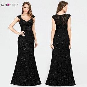 Image 1 - Черное вечернее платье Ever Pretty EP07919BK, с v образным вырезом, без рукавов, с блестками