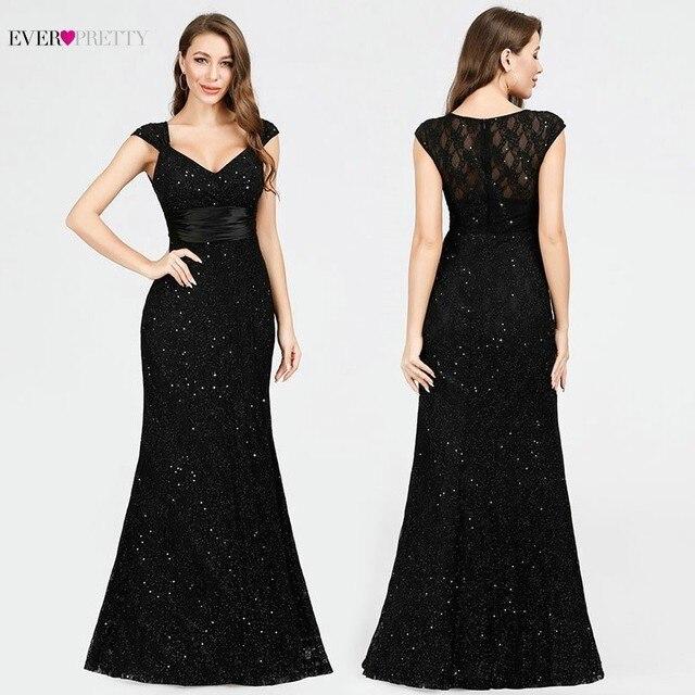 Черное вечернее платье Ever Pretty EP07919BK, с v образным вырезом, без рукавов, с блестками