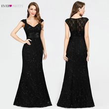 Lace Sequined Evening Dresses Black Ever Pretty EP07919BK V Neck Mermaid Sleeveless Sexy Beaded Sparkle Elegant Party Dresses