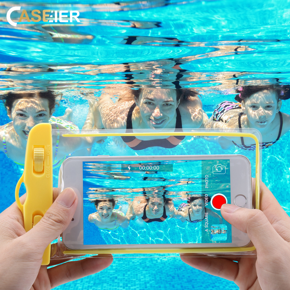 CASEIER Universal Waterproof Phone Case 360 Full Cover Protective Pouch Bag Photography Underwater in Summer