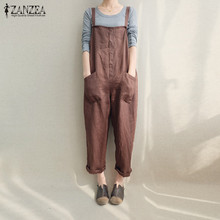 ZANZEA Women Sleeveless Strappy Dungaree Jumpsuits Overalls Casual Loose Pockets Long Harem Pants Baggy Bib Trousers Plus Size