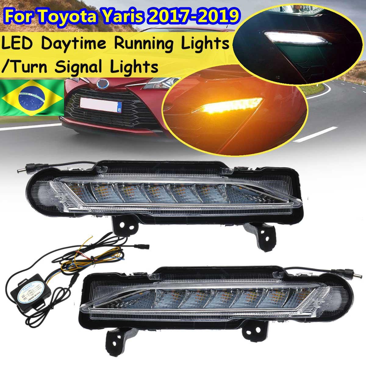 2 piezas de coche parachoques delantero LED Drl luz corriente diurna para Toyota Yaris 2017 de 2018 de 2019 niebla señal lámpara amarillo Blanco arnés