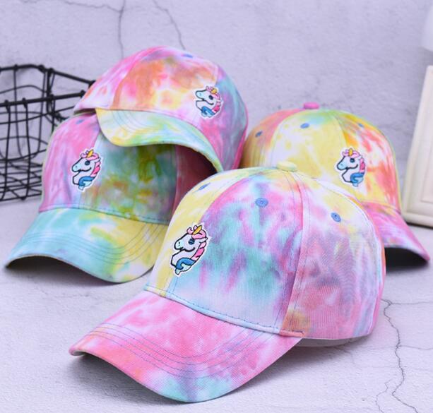 Cartoon Sweet Harajuku Cute Curved Cap Girls Heart Unicorn Institute Wind Baseball Hat Summer Hat Adjustable 56-58 2019 New