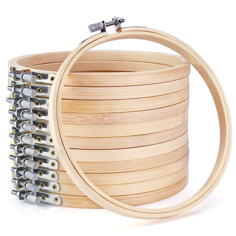12 Pieces 6 Inch Wooden Embroidery Hoops Bulk Wholesale Bamboo Circle Cross Stitch Hoop Round Ring For Art Craft Handy Sewing