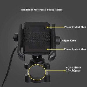 Image 4 - אוניברסלי אופנועים אופני סקוטר טרקטורונים 19 30MM כידון Rearview מראה טלפון נייד מחזיק הר Bracket USB מטען