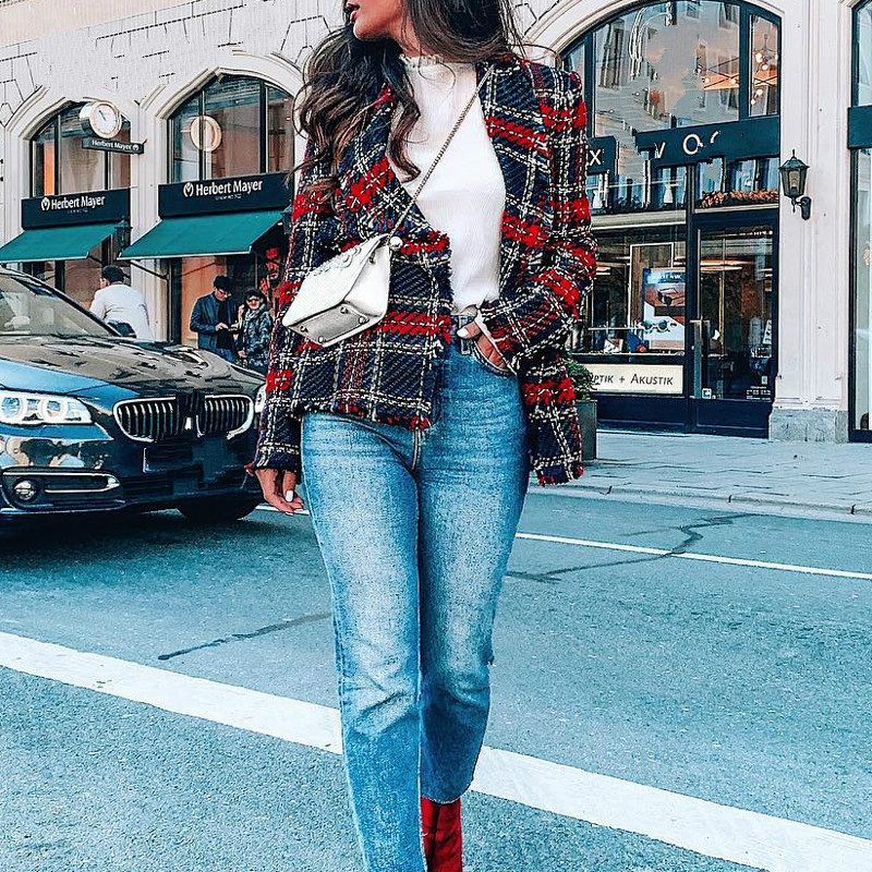 SHENGPALAE Casual Plaid Women 2020 Christmas Tweed Blend Winter Coat Blazer Mujer Fashion Office Lady Overcoat FI880