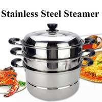 3 Tier 36cm Stainless Steel Steamer Cookware Multi function Food Steam Pot Home Induction Cooker Kitchen Thickened Bottom Pot