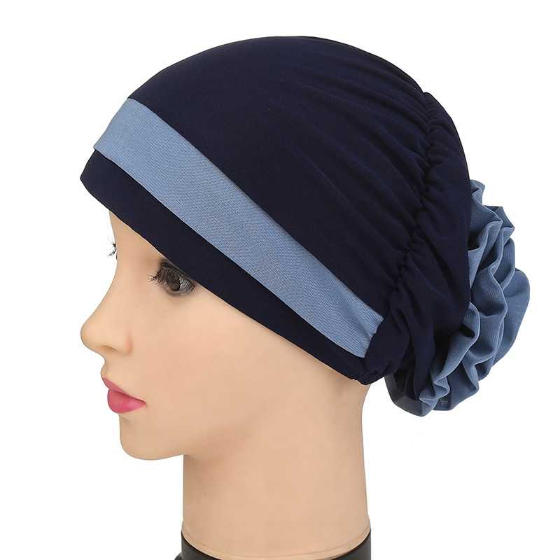 Fioday 1Pc Flower Turban for Women Hair Accessories Elastic Cloth Hair Bands Hat Chemo Beanie Ladies Muslim Scarf Cap Wholesale