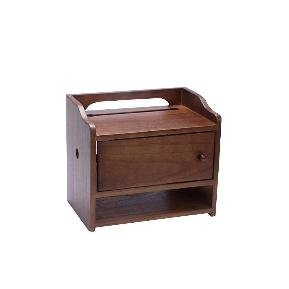 Boîte de rangement multifonction routeur rétro en bois prise Rack fil organisateur fournitures de ménage (couleur noyer, taille moyenne)