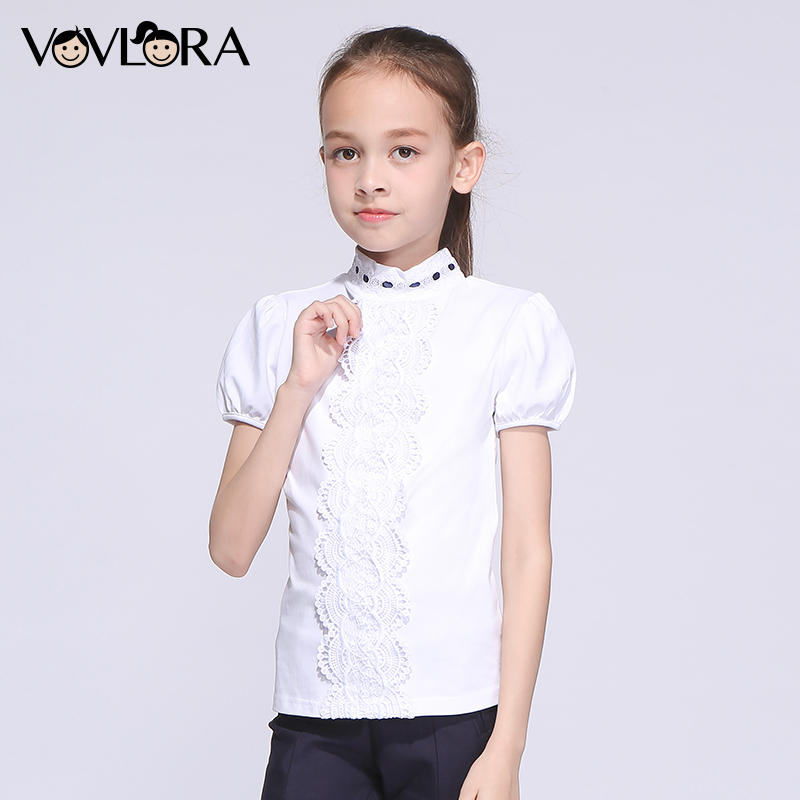 Girls School T shirts Cotton White Lace Kids T shirt Tops Short Sleeve Turtleneck Children Clothes 2018 Size 7 8 9 10 11 12 Year plus size bell sleeve lace insert t shirt