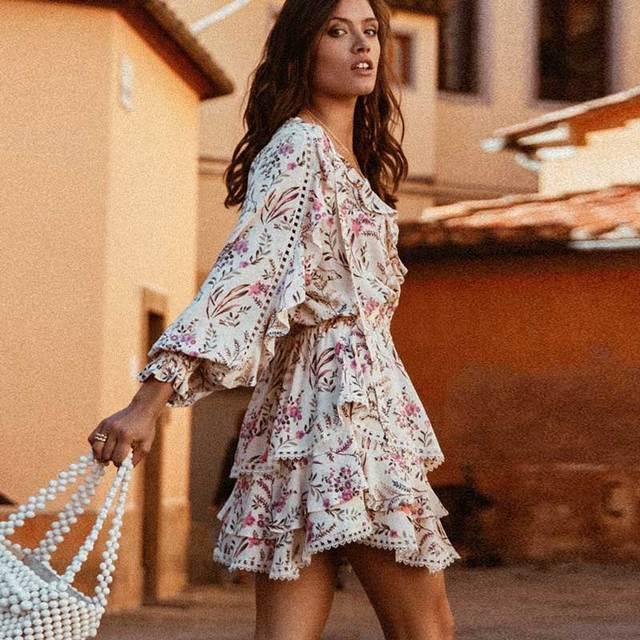 908d6273381 BOHO INSPIRED Strawberry Cream summer dress V-neck frill lace trim gypsy  women dress long sleeve holiday casual boho dress 2019