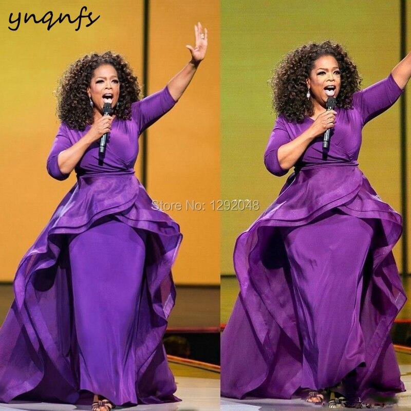 YNQNFS M175 V Neck Spandex Purple Dress Elegant Formal Dress Dubai Mother Of The Bride Groom Dresses Plus Size 2019
